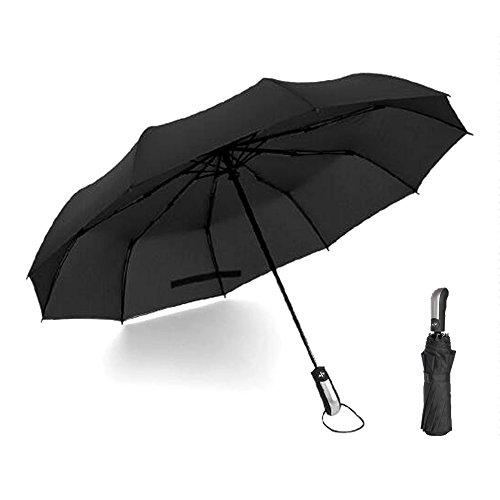 Automatic ombrello pieghevole compatto da viaggio antivento Unbreakable Auto Allargare per uomini e donne 10 stecche rinforzate, funzione anti-vento (Nero)
