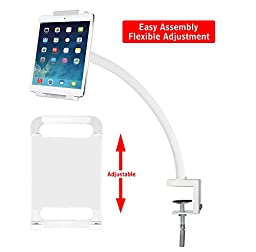 Mounting Dream MD8501-W Tablet Holder with Full Motion Rotation Hand-free Desktop/Bed Clamp with Flexible Gooseneck Arm for most 7-12.5 Inches Tablets up to 3.3 LBS