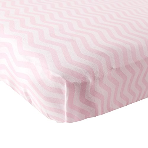 Luvable Friends Fitted Knit Cotton Crib Sheet, Pink Chevron, One Size - 1