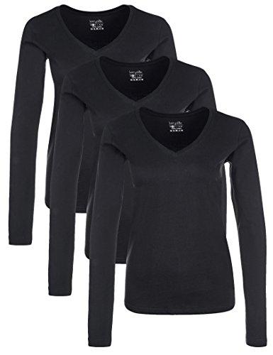 Berydale Camicia donna a maniche lunghe con scollo a V, confezione da 3, Nero, S
