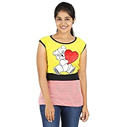 Knit Abc Garments Women's Character Top(KA-WTOP-HTR-21-RD-YL-S_Multicolor_Small)