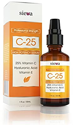 Vitamin C Serum for face 25% - Moisturizer - Vitamin C + E + Hyaluronic Acid Serum. Ultimate Anti Aging Anti Wrinkle Serum Help Combat Wrinkles, Fine Lines, Dark Circles, Age Spots, and Boost Collagen (1 oz) - High Potency Serum - By Sieva Skincare