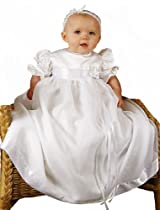 Hot Sale Clarice 9 Month Satin and Organza Christening Baptism Blessing Gown for Girls, Made in USA