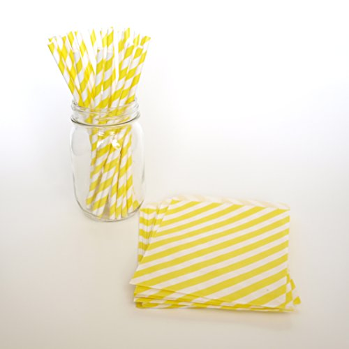 Party Straws, Yellow Goodie Bags, Designer Drinking Straws, Birthday Favor Ideas, 2 Combo Party Supply Kit - Yellow Striped front-704123