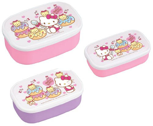 Hello Kitty Design 3-piece Nesting Microwavable Food Storage Lunch Boxes Set of 3pcs