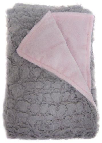 Baby Doll Bedding Sheepskin Mini Blanket, Grey/Pink