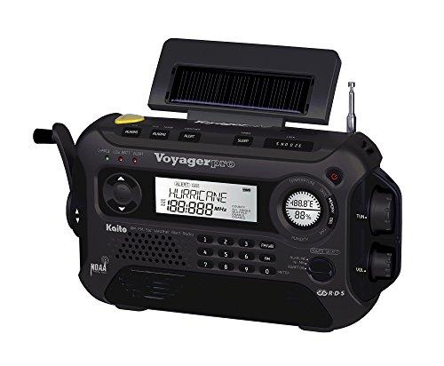 Kaito Voyager Pro Ka600 Digital Solar/Dynamo Am/Fm/Lw/Sw & Noaa Weather Emergency Radio With Alert & Rds, Black With Ac Adapter
