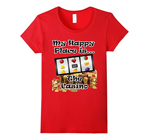 Women's Fun T Shirt Gambling Slot Machine Happy Place is the Casino Medium Red (Slot Machine Shirt compare prices)