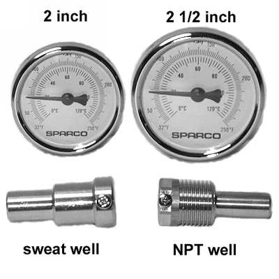 2 inch Thermometer with Thermowell, 1/2 in. Threaded Connection