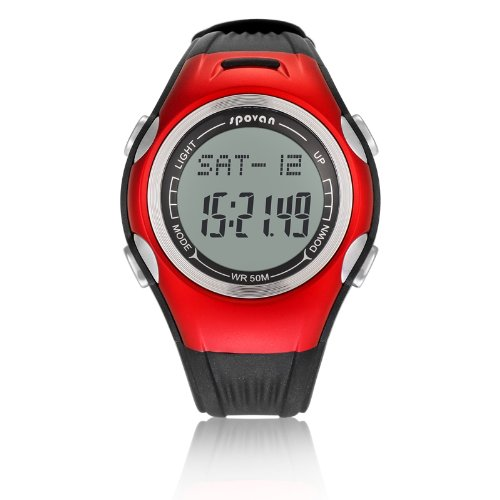 Generic Fashion Casual Waterproof Walking Watch With Stopwatch,Countdown,Pedometer,El Backlight Red