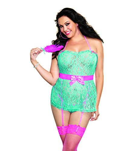 Dreamgirl Women's Plus-Size Queen Size Flirty Delicate Lace Apron Babydoll