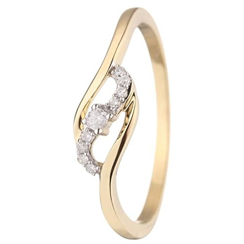 Princess - Princess Diamonds Diamonds Women 375 ° and Diamonds Yellow Gold Ring Size 52