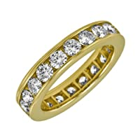 14k Yellow Gold Channel Set Diamond Eternity Band (3 cttw, H-I Color, SI2 Clarity), Size 8