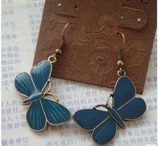 Dark Teal Green Butterfly Butterflies Dangle Earrings