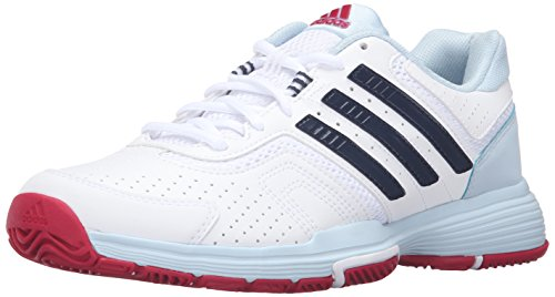 adidas Performance Womens Barricade Court 2 W Tennis Shoe       White Collegiate  Navy Ice Blue Fabric       7 M US