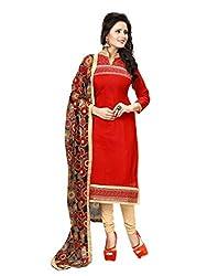 Subhash Sarees Daily Wear Red Color Chanderi Salwar Suit Dress Material