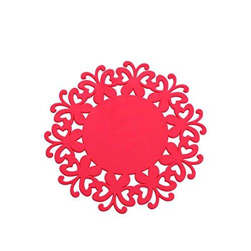 YOKIRIN PVC Untersetzer aus Filz für Tisch und Bar als Glasuntersetzer / Getränkeuntersetzer für Glas und Gläser Tischsets- Rote (Size:Small,Durchmesser:12CM)