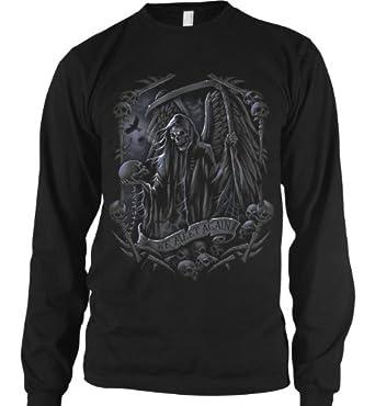Buy We Meet Again Skeleton Reaper Mens Thermal Shirt, Liquid Blue Design Mens Long S by Ghast