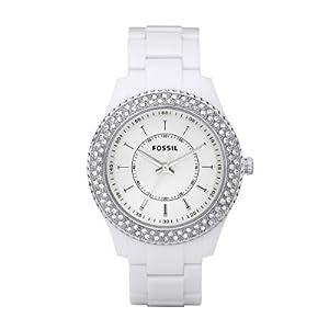Fossil Women's ES2444 White Resin Bracelet White Glitz Analog Dial Watch