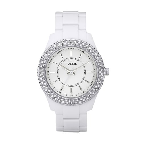 Fossil ES2444 Ladies White Acrylic 'Stella' Watch with Stone Set Bezel and White Dial