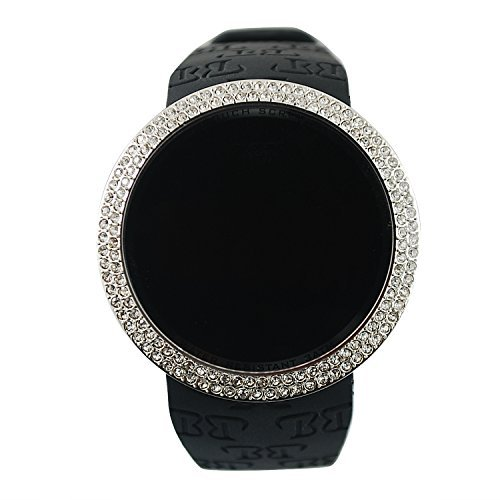 Techno Pave Iced Out Bling Lab Created Silver Black Digital Touch Screen Sports Watch Silicone Band (Watch Techno Watch compare prices)