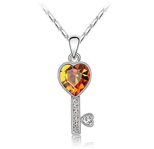 UFINGO SCHMUCK Damen Herz Kristall Schlüsselanhänger Halskette, mit SWAROVSKI ELEMENTS Kristall, Weißes Gold Überzogen, Kettenlänge 40cm + 5cm (Ausgedehnte Kette), Schönes Geschenk für Frauen und Mädchen, Gelb