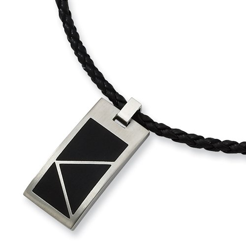 Chisel Brushed Stainless Steel Pendant with Black Accents on 20 Inch Leather Cord