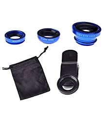 Fengfanglin Blue International Universal 3 in 1 Magic Mobile Lens (Fish Eye, Wide angle, Macro) Lens for Smartphones iPhone Tablets Laptops