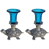 Handicrafts Paradise Candle Holder Pair In Glass With Metal Tortoise Base