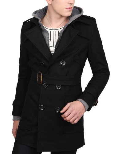 Doublju Mens Casual Breasted Wool Jacket BLACK XL (W2A)