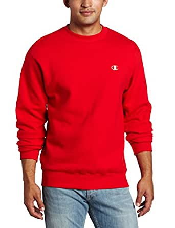 Champion Men's Pullover Eco Fleece Sweatshirt, Crimson, Small