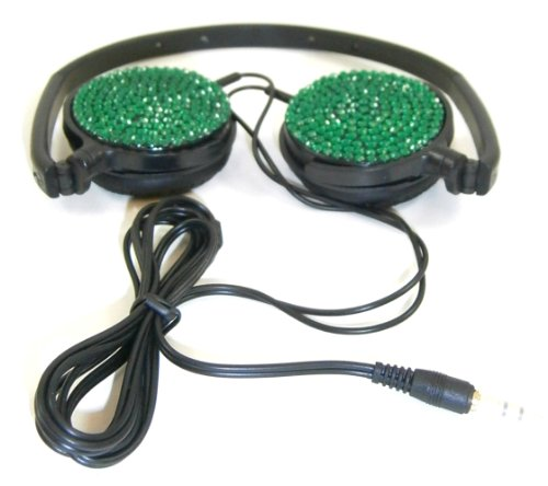 Emerald Green Crystal Rhinestone Lightweight Foldable Swivel Headphones