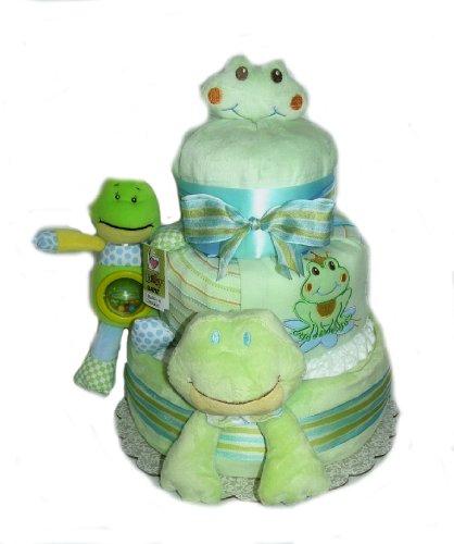 Plush Baby Shower Diaper Cake Gift Set (Green Frog)
