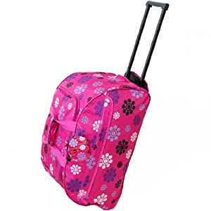 Small 22 Inch Wheeled Holdall Bag (Daisy Pink)