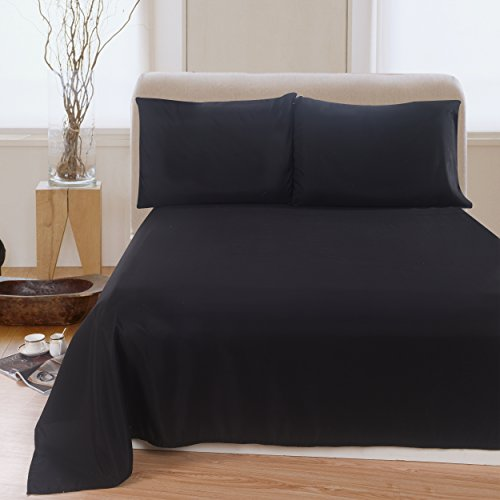 Lullabi Linen 100% Brushed Soft Microfiber Bed Sheet Set, Fitted & Flat Sheet & Pillowcases, Cozy Comfortable, Wrinkle, Fade, Stain Resistant, Deep Pockets (Black, Full) (Black Bed Sheets compare prices)