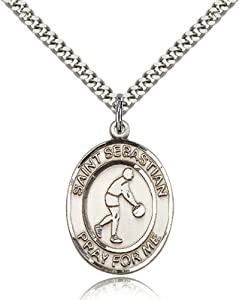 Sterling Silver Men's Patron Saint Medal of ST. SEBASTIAN/Basketball