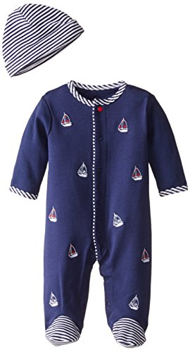Little Me Baby-Boys Newborn Sailboats Footie and Hat, White Print, 3 Months