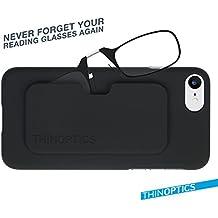 ThinOPTICS Stick Anywhere, Go Everywhere Reading Glasses Plus Black IPhone 7 Case, Red Frame, Black Case, 1.00...