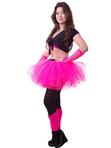 14 Inch Long 3 Layer Full Neon Pink Tutu Skirt - size 10 to 16