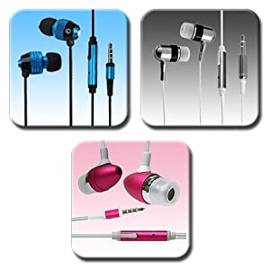 3 Pack In-Ear Earphone Headphone with Mic & On/Off Switch for Samsung Galaxy Note S2 SII S3 SIII i9300