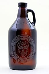 Personalized Engraved Beer Skull Home Brew Beer Growler | Custom Beer Gift