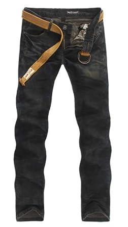 Nesta Men's Straight Legged Denim Washed Fashion Casual Jeans-38