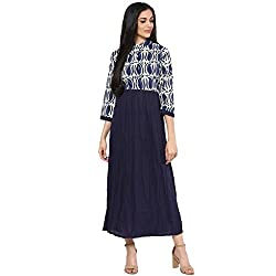 Bhama Couture Indigo Eye Print Crinkle Long Dress