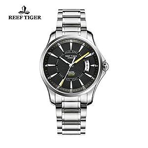 Reef Tiger Sport Luminous Watch Big Date 316L Steel Yellow Hands Mens Watches RGA166