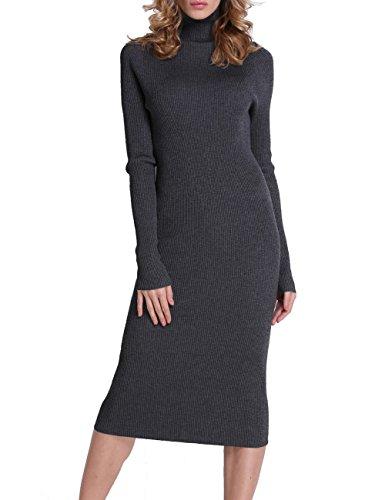 Firpearl Women's Ribbed Turtleneck Long Sleeve Maxi Long Sweater Dress XL Carbon Grey