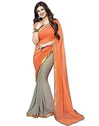 Arth Fashion Women's Georgette printed Saree With Blouse Piece (AYESHA18_Orange_FreeSize)