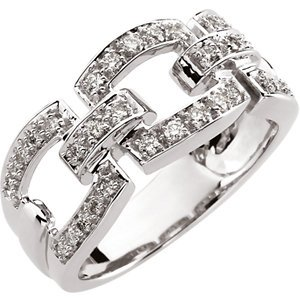 14K White Gold 1/3 ct tw Link-Style Diamond Band: 1/3 CT TW Size: 10