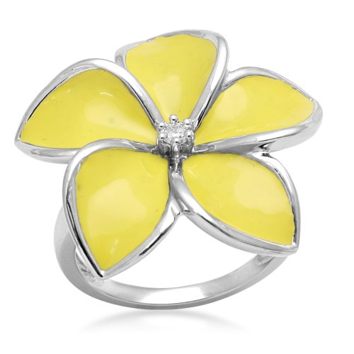 Jewelili Sterling Silver with Yellow Enamel Diamond Flower Ring (0.05 Cttw, IJ Colour, I2/I3 Clarity), Size 7