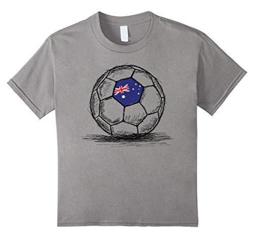 Kids Australia Australian Aussie Soccer Football Flag T-Shirt 4 Slate (Aussie Flag Dress)