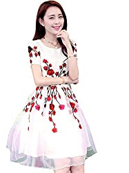 Clickedia Girl's & Women's Semi Stitched Faux Georgette Embroidered White kurti With Red Embroidered Flowers
